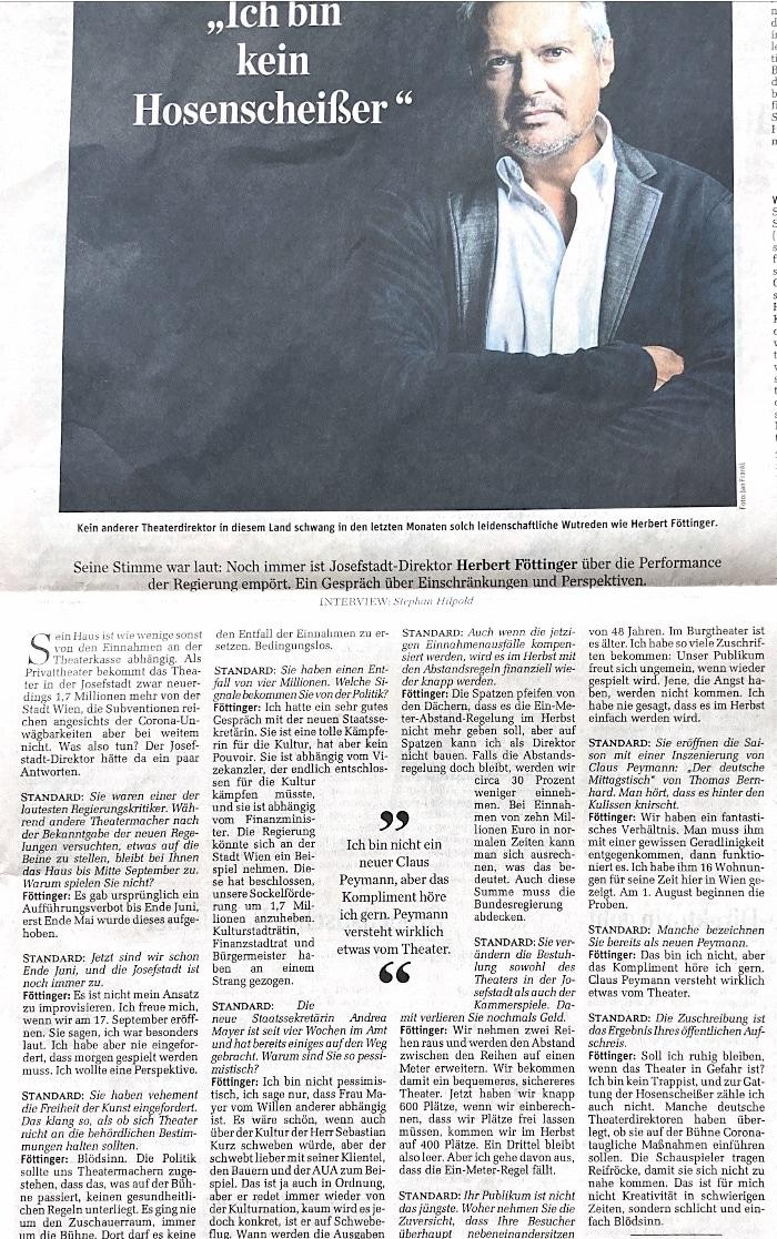 Der Standard: Ich bin kein Hosenscheißer - Herbert Föttinger
